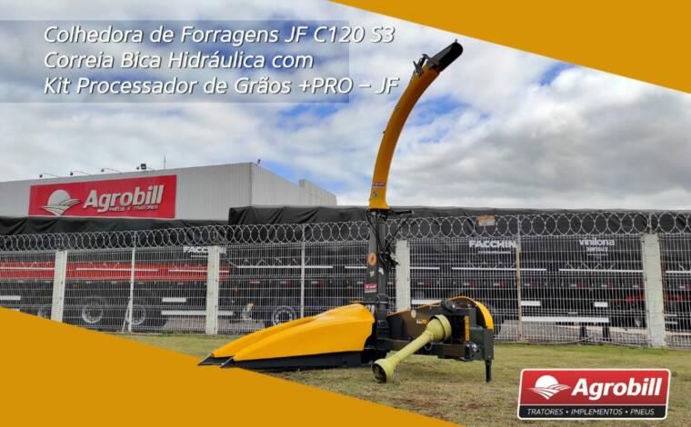 Colhedora de Forragens JF C120 S3 / Correia / Bica Hidráulica / com Kit Processador de Grãos +PRO – JF > Novo - Colhedora de Forragens / Forrageira - JF - Agrobill - Tratores, Implementos Agrícolas, Pneus