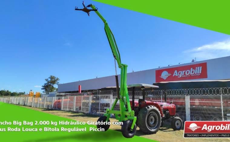 Guincho p/ Big Bag 2.000 kg / Hidráulico Giratório / com Pneus / Roda louca / Bitola regulável /  Telescópico – Piccin > Novo - Guincho Agrícola - Piccin - Agrobill - Tratores, Implementos Agrícolas, Pneus