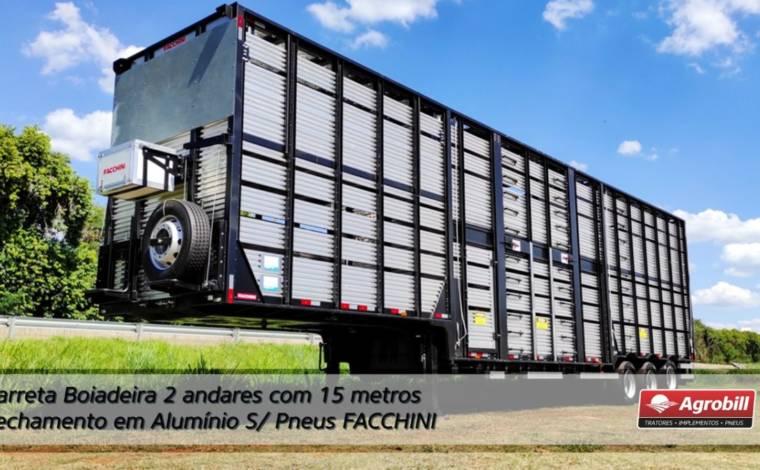 Carreta Boiadeira 2 andar c/ 15 metros c/ fechamento em Alumínio S/ Pneus -FACCHINI 0KM - Boiadeiras - Facchini - Agrobill - Tratores, Implementos Agrícolas, Pneus